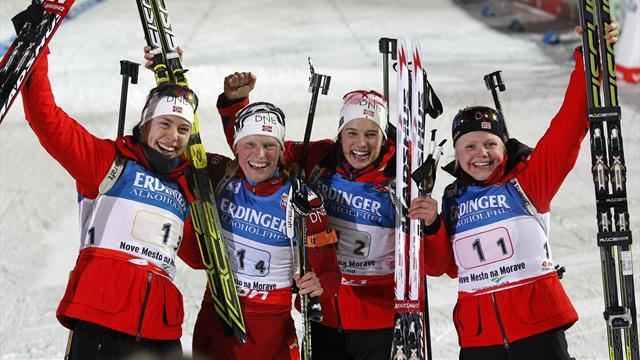Biathlon - Brilliant Berger takes fourth gold in Nove Mesto relay