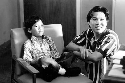 Kevin Lo , who plays Young Dwayne, with Chi Muoi Lo on the set of Iron Hill's Catfish in Black Bean Sauce