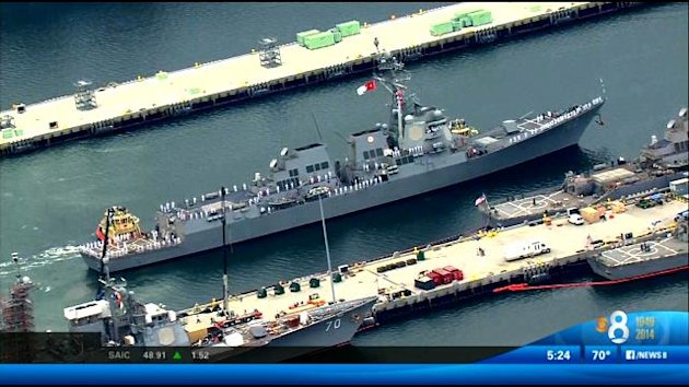 The guided missile destroyer USS Sampson. (Screengrab: Channel 8 San Diego)