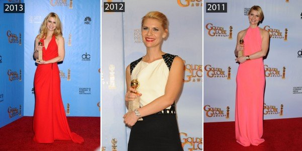 Claire Danes at the Golden Globes in three different years