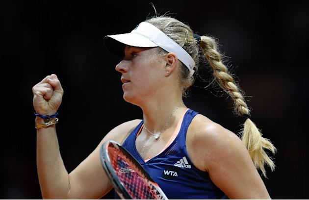 Germany's Angelique Kerber reacts in her semifinal match against Madison Brengle from the USA at the WTA Porsche Tennis Grand Prix in Stuttgart, southwestern Germany, on April 25, 2015