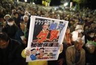 A protester holds a placard with a photo of Japan's Prime Minister Shinzo Abe, during a rally against the government's planned secrecy law in Tokyo November 21, 2013. REUTERS/Issei Kato