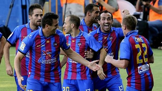 Levante's players celebrating a goal