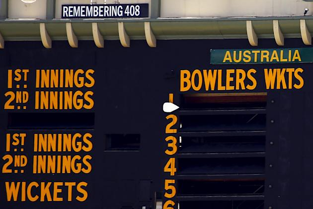 A tribute to former Australian cricketer Hughes, who was the 408th player for Australia, is displayed on the scoreboard on the first day of the third cricket test match between Australia and New Zeala