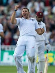 England's Tim Bresnan celebrates after taking the wicket of West Indies Marlon Samuels during the third day of the third Test match between England and West Indies in Birmingham, central England