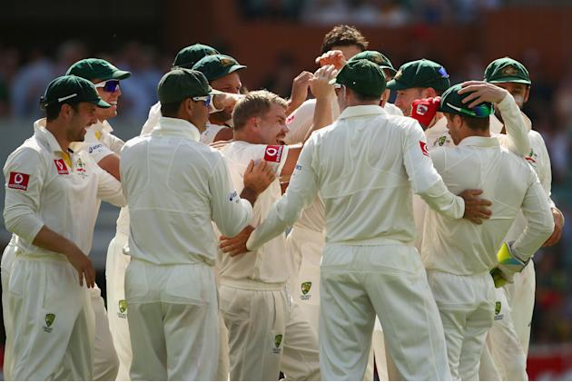 ADELAIDE, AUSTRALIA - NOVEMBER 23:  The Australian team congratulate David Warner and Matthew Wade of Australia after they combined to take the wicket of Hashim Amla of South Africa during day two of