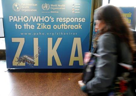 Material to prevent Zika infection by mosquitoes are displayed at the 68th World Health Assembly at the UN in Geneva