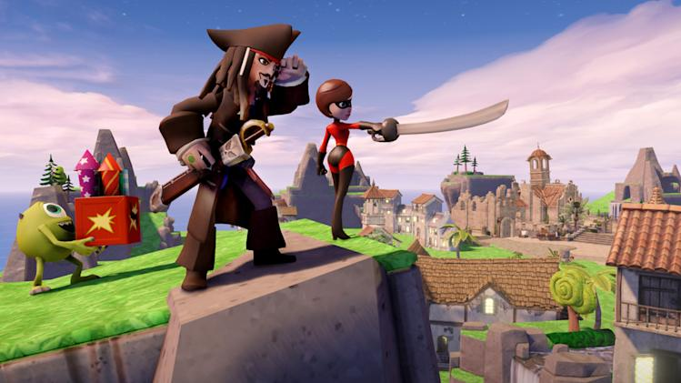 "This video game image released by Disney shows characters from the films ""Monsters University,"" ""Pirates of the Caribbean"" and ""The Incredibles"" in the game ""Disney Infinity: The Toy Box."" (AP Photo/Disney)"