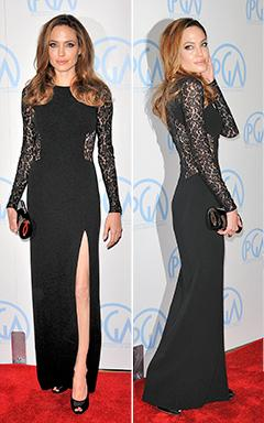 Angelina Jolie Sizzles in Black Lace Gown at Producers Guild Awards