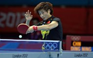 Ding Ning of China returns the ball during the Women's singles final round table tennis match of the London 2012 Olympic Games at the Excel centre in London. Ning ended the hopes of one of table tennis's brightest stars to reach the semi-finals of the Olympics at her first attempt