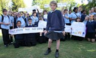 Boy Defies Uniform Rule By Wearing A Skirt