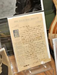 NEW YORK, NY - SEPTEMBER 14: An original letter by John Lennon on display during the Guernsey's Rock & Roll Auction Press Preview at Guernsey's Auction House on September 14, 2011 in New York City. (Photo by Ben Gabbe/Getty Images)