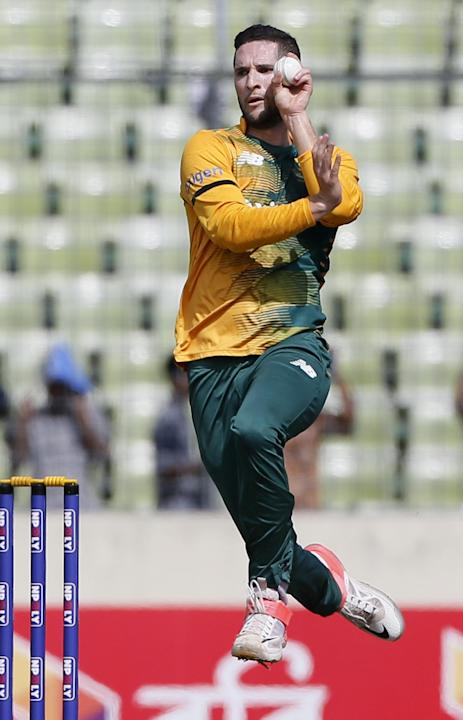 South Africa's Wayne Parnell bowls against Bangladesh during their second Twenty20 international cricket match in Dhaka, Bangladesh, Tuesday, July 7, 2015. Bangladesh security agencies are investigati
