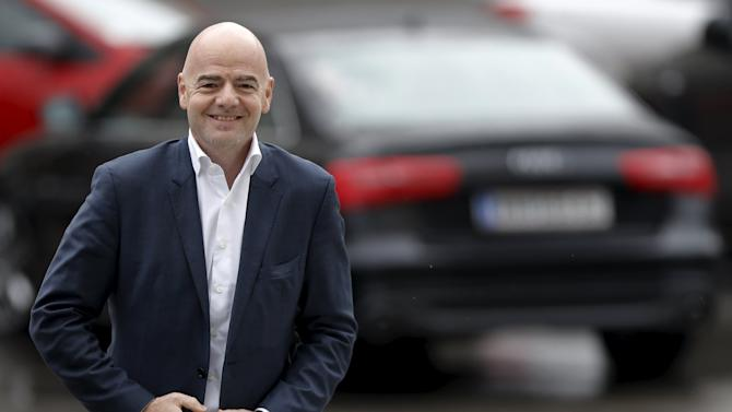 UEFA General Secretary and FIFA presidential candidate Infantino arrives for the regional meeting of National Football Associations in Belgrade