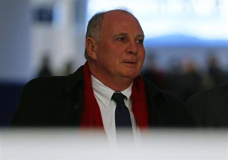 Bayern Munich President Hoeness is seen at Munich's international airport