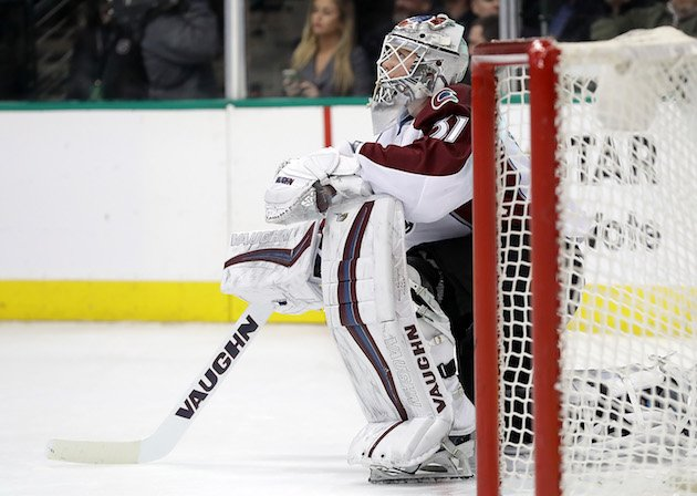 DALLAS, TX - DECEMBER 29: Calvin Pickard #31 of the Colorado Avalanche sits next to the net after giving up a goal to Tyler Seguin #91 of the Dallas Stars in the first period at American Airlines Center on December 29, 2016 in Dallas, Texas. (Photo by Ronald Martinez/Getty Images)