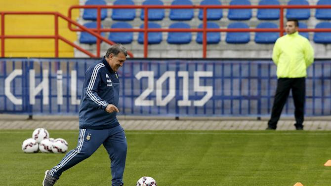 Argentina's national soccer team head coach Gerardo Martino participates in a team training session in Concepcion