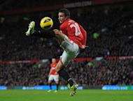 Manchester United's forward Robin van Persie controls the ball during their English Premier League football match against Sunderland at Old Trafford in Manchester, north-west England on December 15, 2012. Manchester United won 3-1