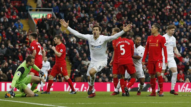 Swansea City's Fernando Llorente celebrates scoring their first goal