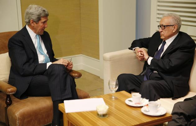 U.S. Secretary of State John Kerry meets with UN-Arab League Envoy to Syria Lakhdar Brahimi for a bilateral meeting in Geneva