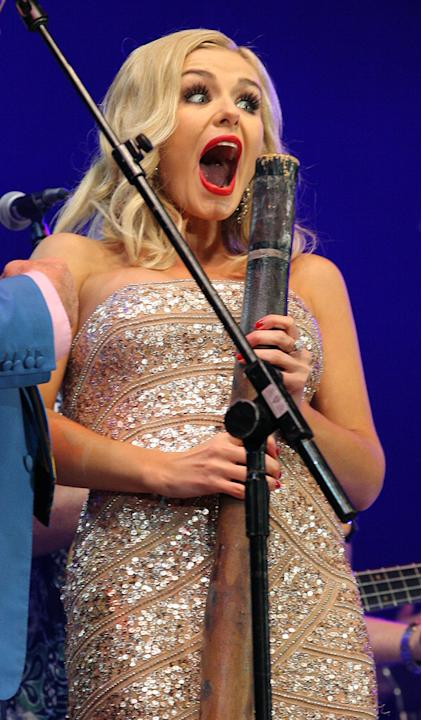 Katherine Jenkins got very excited about a digeridoo at the Last Night of the Proms.