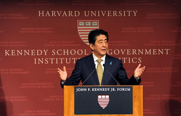 Japanese Prime Minister Shinzo Abe speaks at the John F. Kennedy School of Government at Harvard University