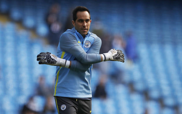 Manchester City's Claudio Bravo warms up before the match