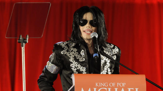 """FILE - In this March 5, 2009 file photo, US singer Michael Jackson announces that he is set to play ten live concerts at the London O2 Arena in July, which he announced at a press conference at the London O2 Arena. Los Angeles jurors hearing Katherine Jackson's lawsuit against AEG Live saw detailed contracts the company drafted for her son and his personal physician, as well as budgets and an email chain in which two of the company's attorneys exchanged messages in which the singer was called """"the freak"""" during the trial's fourth week on May 20-23, 2013. (AP Photo/Joel Ryan, File)"""