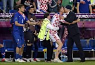 A pitch invader kisses Croatian head coach Slaven Bilic during the Euro 2012 championships football match Republic of Ireland vs Croatia at the Municipal Stadium in Poznan. Croatia won 3 to 1
