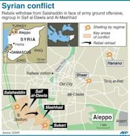 A map of Aleppo showing latest fighting in the city. Syrian forces shelled rebels in the battle-scarred city of Aleppo Sunday and gunfire was heard in Damascus, as US Secretary of State Hillary Clinton called for the regime's downfall to be speeded up