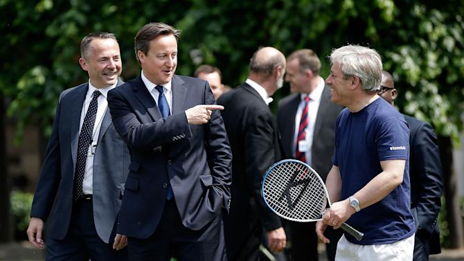 David Cameron Meets School Children For A Game Of Tennis