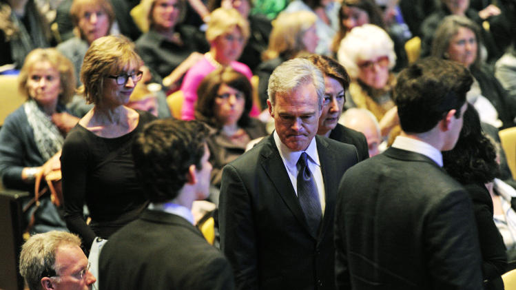 "In this image released by CBS, Scott Pelley Anchor and Managing Editor, ""CBS Evening News with Scott Pelley,"" attends the CBS News memorial service for Mike Wallace at Jazz at Lincoln Center in New York on Tuesday, May 1, 2012. Wallace died at age 93 on April 7. (AP Photo/CBS, John Paul Filo)"