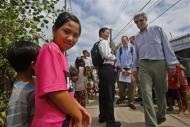 U.S. Secretary of State John Kerry (R) visits the village of Kien Vang along the Mekong River Delta December 15, 2013. REUTERS/Brian Snyder
