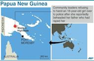 Graphic map showing the Western Highlands in Papua New Guinea, where a teenage girl reportedly beheaded her father with a bush knife after he raped her. The Post-Courier newspaper said the 18-year-old chopped her father's head clean off