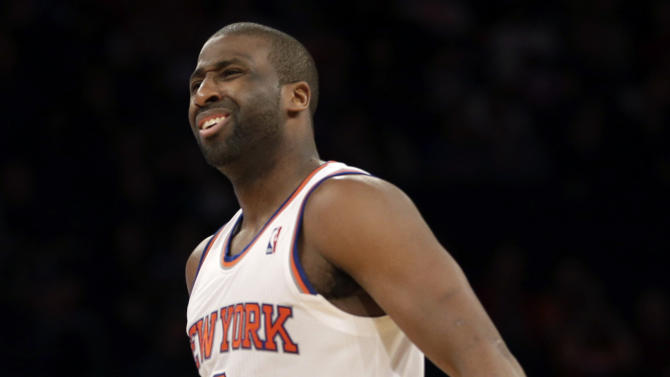 New York Knicks' Raymond Felton reacts after being called for a foul during the second half of the NBA basketball game against the Brooklyn Nets at Madison Square Garden, Monday, Jan. 20, 2014, in New York. The Nets defeated the Knicks 103-80