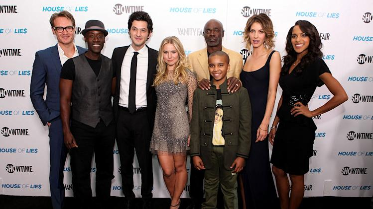 "Josh Lawson, Don Cheadle, Ben Schwartz, Kristen Bell, Glynn R. Turman, Donis Leonard Jr., Dawn Olivieri, and Megalyn Echikunwoke attend the premiere party for Showtime's new series ""House of Lies&quot held at the AT&T Center Theatre on January 4, 2012 in Los Angeles, California."