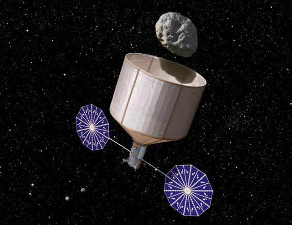 An artist's illustration of an asteroid retrieval spacecraft capturing a 500-ton asteroid that is about 7 meters wide.