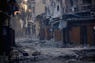 A general view taken on January 3, 2013, shows destruction in the old souk of the northern Syrian city of Aleppo after Syrian government forces allegedly recaptured the area from opposition forces
