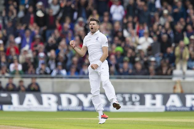 England's James Anderson celebrates after taking the wicket of Australia's Michell Marsh, caught by Jos Buttler for 0 on the first day of the third test match of their five match series betwee