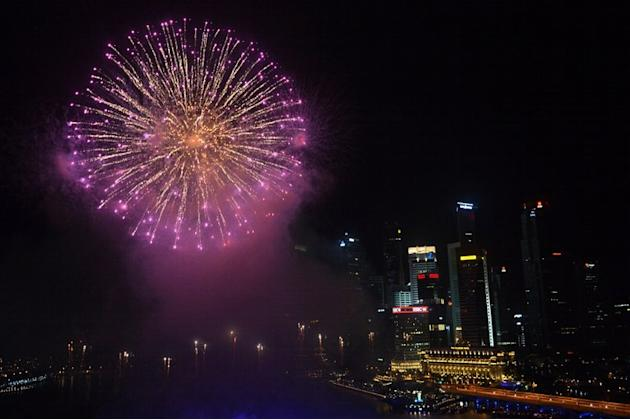 Fireworks illuminate the sky to usher the new year at the Marina Bay in Singapore on January 1, 2013