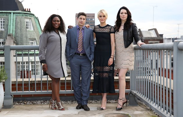 MAY 29: Danielle Brooks, Jason Biggs, Taylor Schilling and Laura Prepon attend a photocall to launch season 2 of Netflix exclusive series. (Photo by T...