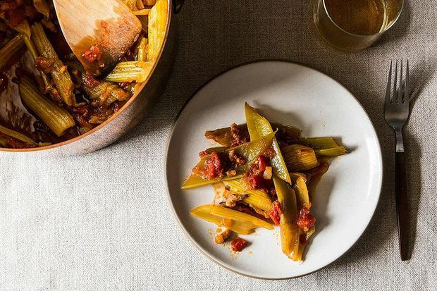 Marcella Hazan's Braised Celery with Tomato, Onion & Pancetta
