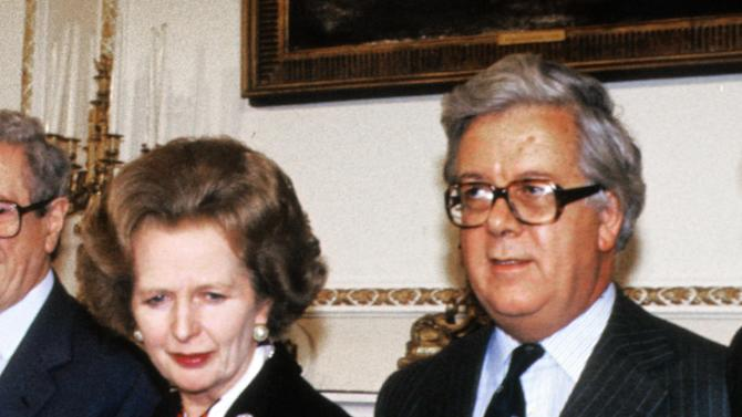 Geoffrey Howe, right, wrote to Margaret Thatcher expressing concern about international football hooliganism