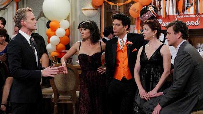 """The Best Man"" -- Barney (Neil Patrick Harris), Robin (Cobie Smulders), Ted (Josh Radnor), Lily (Alyson Hannigan) and Marshall (Jason Segel) stick together at a pals wedding,  on the seventh season premiere of HOW I MET YOUR MOTHER, Monday, Sept. 19 (8:00-8:30 PM, ET/PT) on the CBS Television Network.  Photo: Cliff Lipson/CBS ©2011 CBS Broadcasting Inc. All Rights Reserved. How I Met Your Mother"
