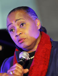 U.S soprano Barbara Hendricks reacts during international Jazz Day at the UNESCO headquarters in Paris, Friday, April 27, 2012. (AP Photo/Jacques Brinon)
