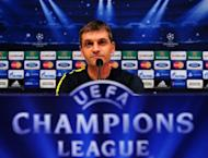 Barcelona's coach Tito Vilanova gives a press conference at the Camp Nou stadium in Barcelona on the eve of a Champions League football match against Spartak Moscou