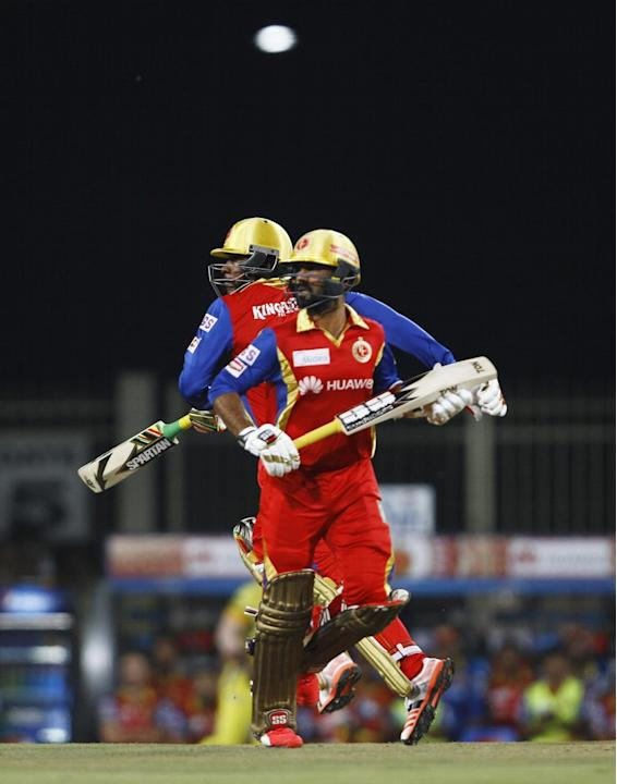 Ranchi: Royal Challengers Bangalore batsman Dinesh Karthik in action during the second qualifier match of IPL 2015 between Chennai Super Kings and Royal Challengers Bangalore at JSCA International Cri