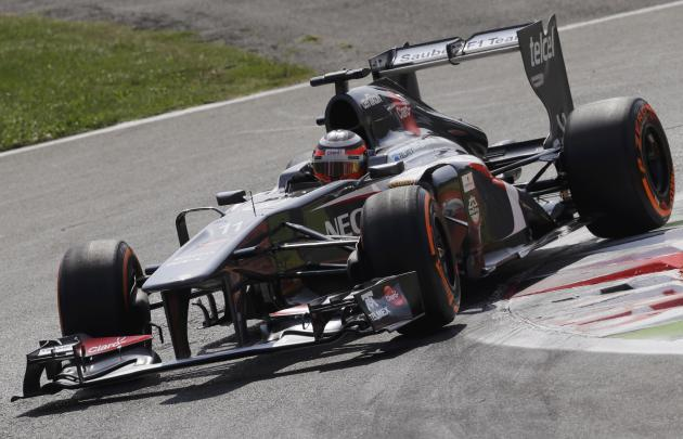 Sauber Formula One driver Hulkenberg drives during the qualifying session of the Italian F1 Grand Prix at the Monza circuit