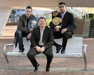 British boxer WBA Super Lightweight World Champion Amir Khan (right) poses with Northern Ireland's Paul McCloskey and promotor Ricky Hatton during a photocall. Former world champion Hatton says he has put his drugs, drink and depression nightmare behind him as he relishes his new life outside the ring as a promoter