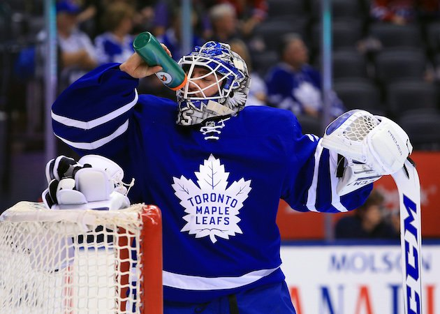 TORONTO, CANADA - OCTOBER 02: Jhonas Enroth #35 of the Toronto Maple Leafs takes a drink during an NHL preseason game against the Montreal Canadiens at Air Canada Centre on October 2, 2016 in Toronto, Canada. (Photo by Vaughn Ridley/Getty Images) .